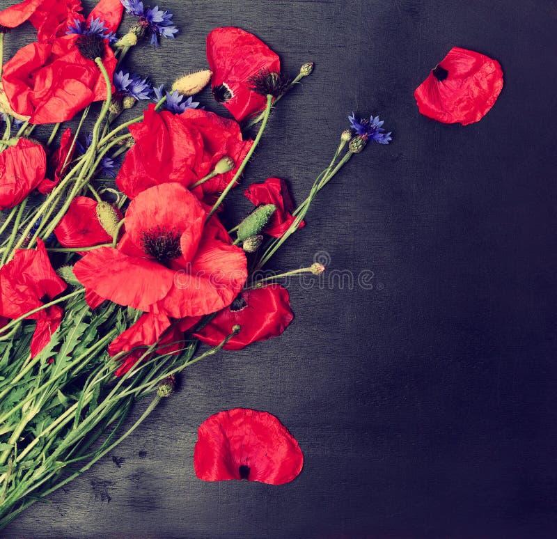 Mazzo dei papaveri rossi di fioritura e dei fiordalisi blu fotografia stock libera da diritti