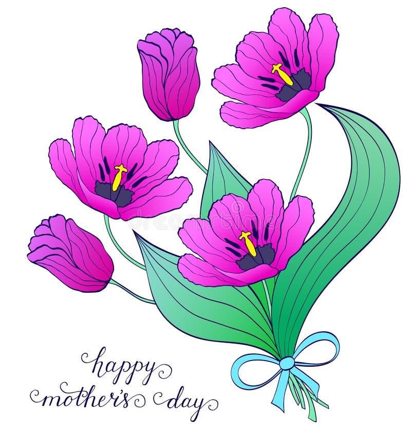 Mazzo dei tulipani disegnati a mano royalty illustrazione gratis