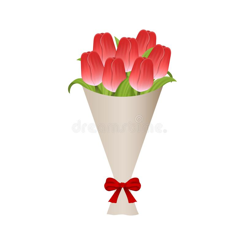 Mazzo Di Fiori Vector.Mazzo Dei Tulipani Rossi In Carta Con L Arco Rosso Mazzo Del
