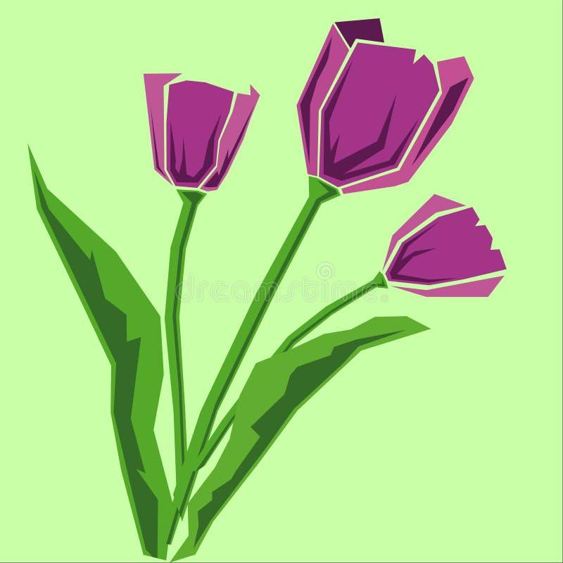 Mazzo dei tulipani viola Illustrazione di vettore immagine stock libera da diritti