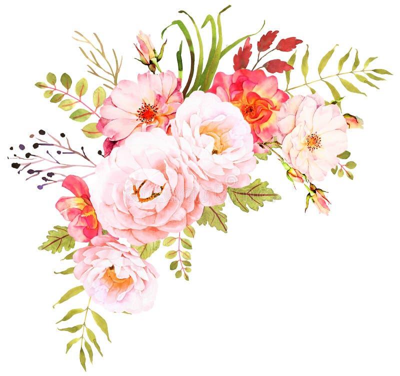 Mazzo del fiore Composizione decorativa per l'invito di nozze royalty illustrazione gratis