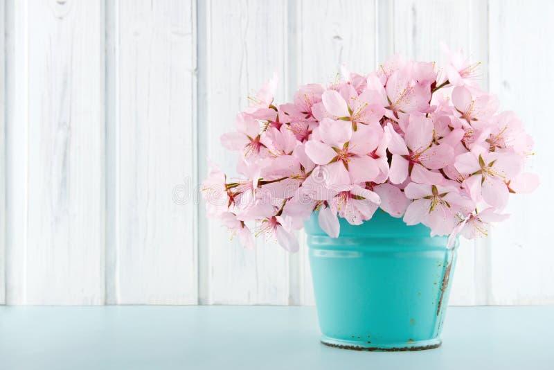 Mazzo del fiore del fiore di ciliegia su fondo di legno fotografia stock libera da diritti