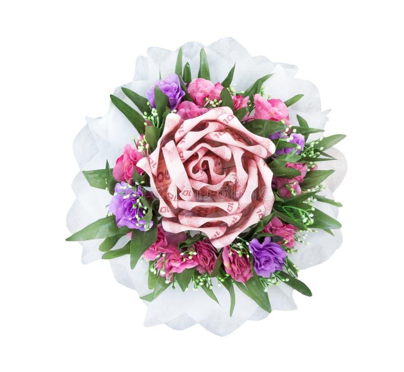 Mazzo del fiore della decorazione da soldi tailandesi, isolato su fondo bianco fotografia stock libera da diritti