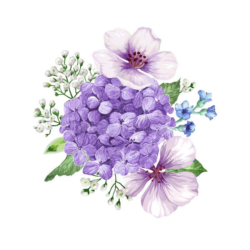 Mazzo del fiore di melo, gypsophila nello stile dell'acquerello isolato su fondo bianco Per le cartoline d'auguri, stampe illustrazione di stock