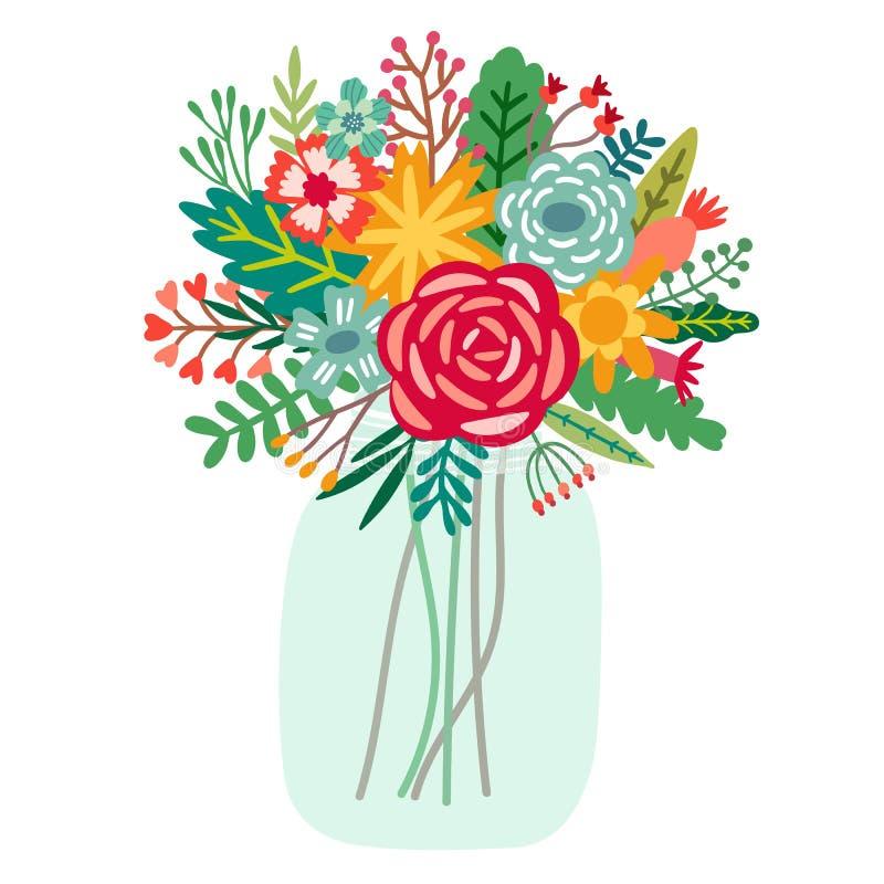 Mazzo del fiore di vettore in barattoli illustrazione vettoriale