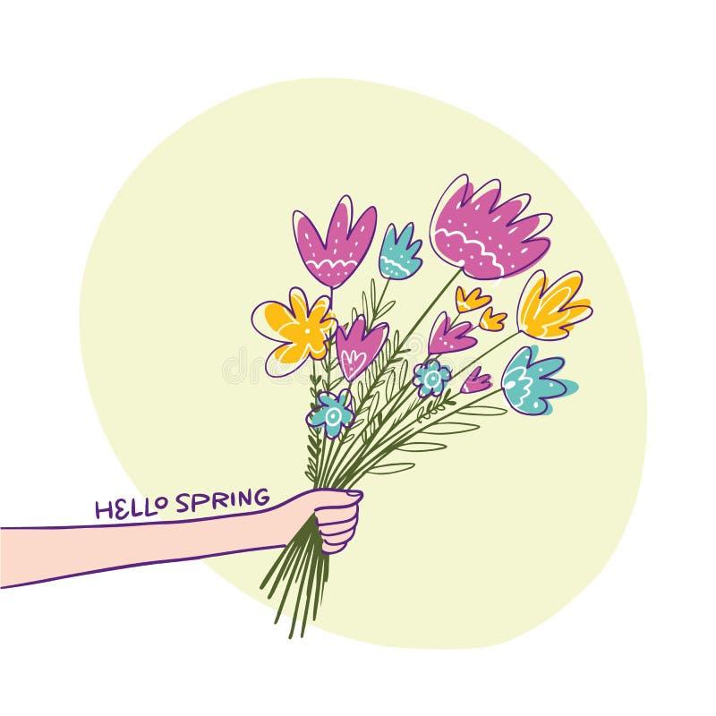 Mazzo del fiore A disposizione Illustrazione disegnata a mano di vettore illustrazione di stock