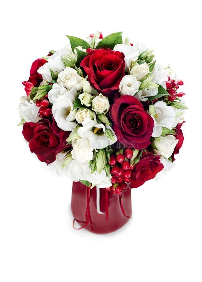 Mazzo del fiore in vaso rosso fotografie stock