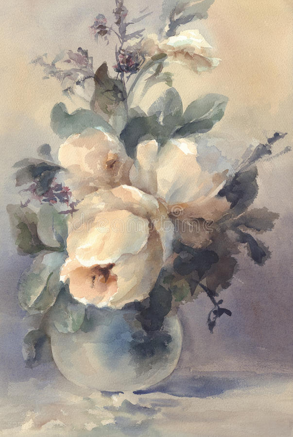 Mazzo dell'acquerello bianco delle peonie royalty illustrazione gratis