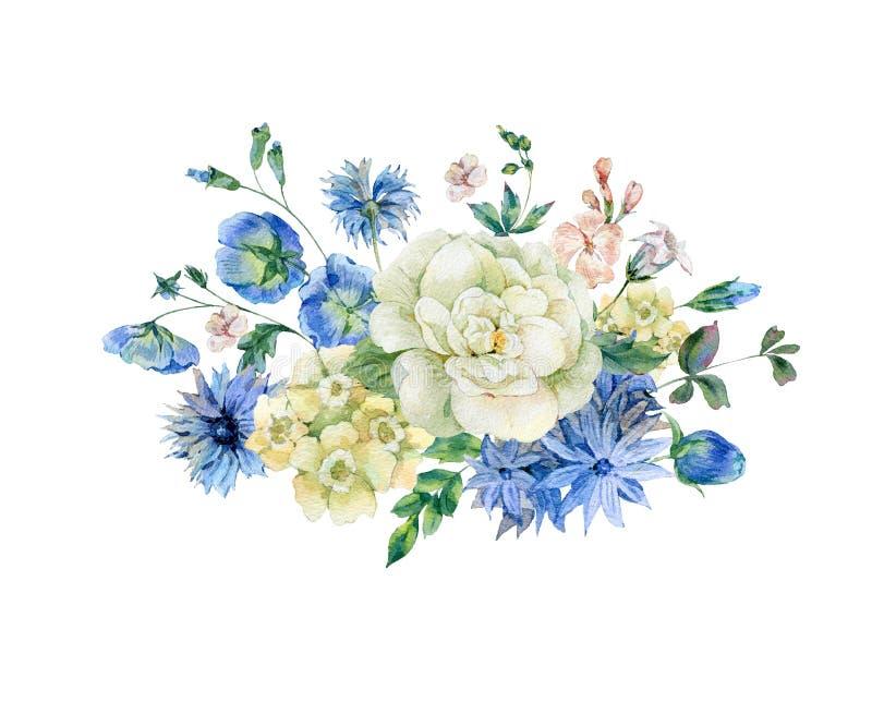 Mazzo dell'acquerello con i fiori selvaggi di fioritura del blu illustrazione vettoriale
