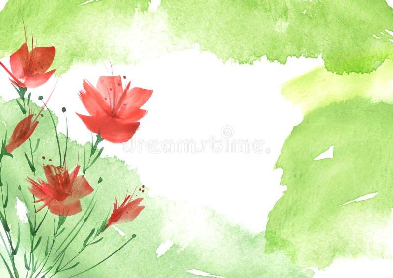 Mazzo dell'acquerello dei fiori Priorit? bassa floreale illustrazione vettoriale