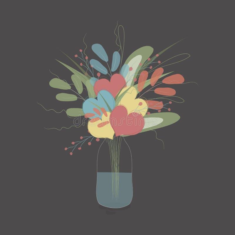 Mazzo della primavera dei fiori e dei cuori illustrazione vettoriale