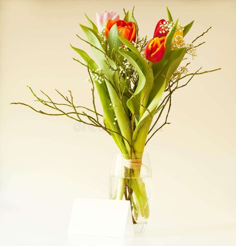 Mazzo della sorgente con i tulipani immagine stock
