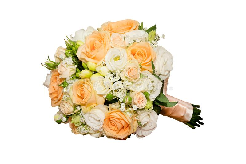 Mazzo della sposa isolata su bianco fotografie stock libere da diritti