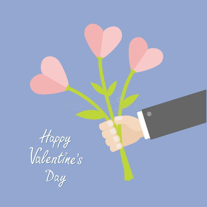 Mazzo della tenuta della mano dell'uomo d'affari dei fiori del cuore Giorno felice dei biglietti di S Progettazione piana Colore  illustrazione di stock
