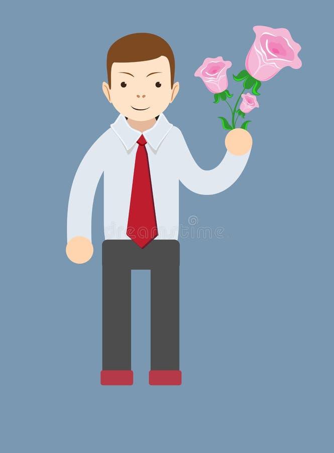 Mazzo della tenuta della mano dell'uomo d'affari della rosa di rosa illustrazione di stock