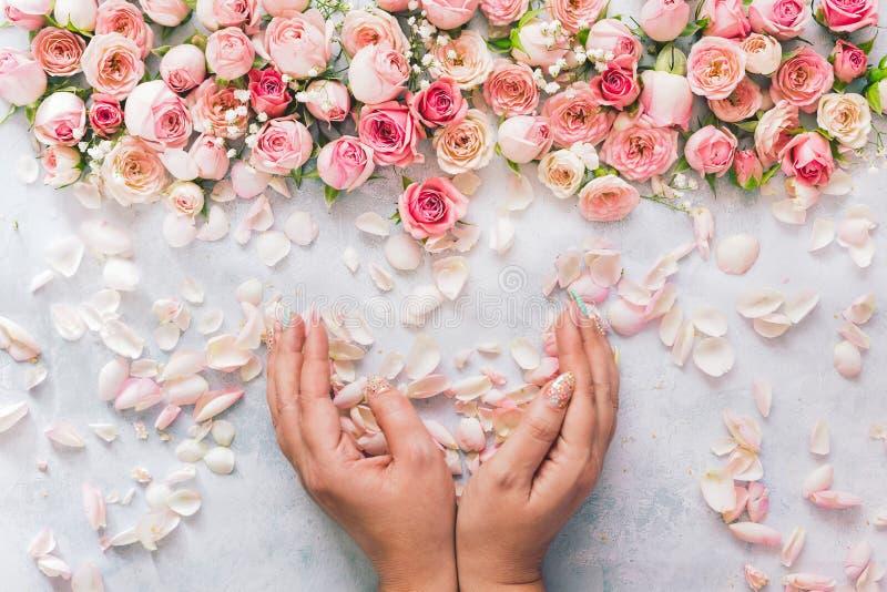 Mazzo della tenuta della mano della donna bello di petali rosa fotografie stock