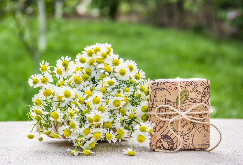 Mazzo delle camomille e di un contenitore di regalo Regalo in stile eco Erbe utili fotografia stock libera da diritti