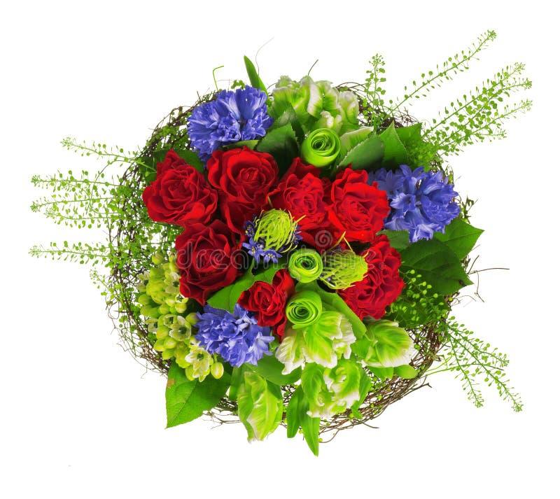 Mazzo delle rose, del hyacinthus e dei verdi immagine stock