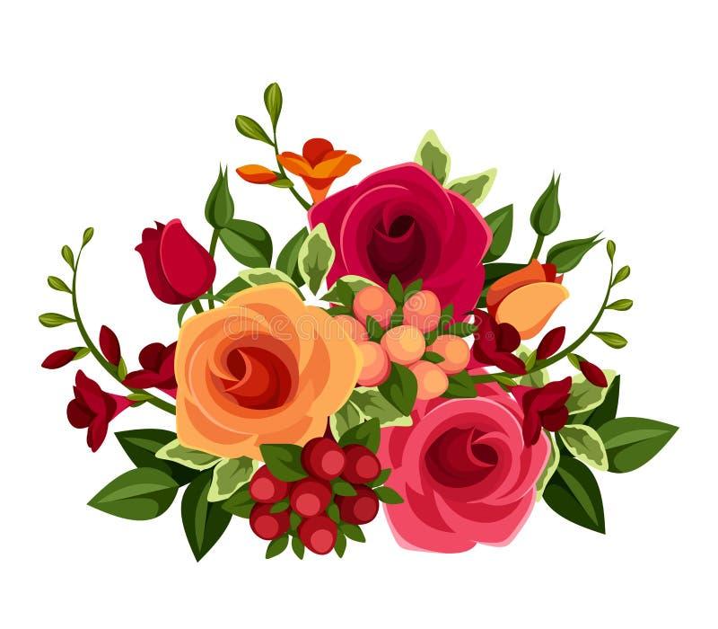 Mazzo delle rose e dei fiori di fresia Illustrazione di vettore illustrazione vettoriale