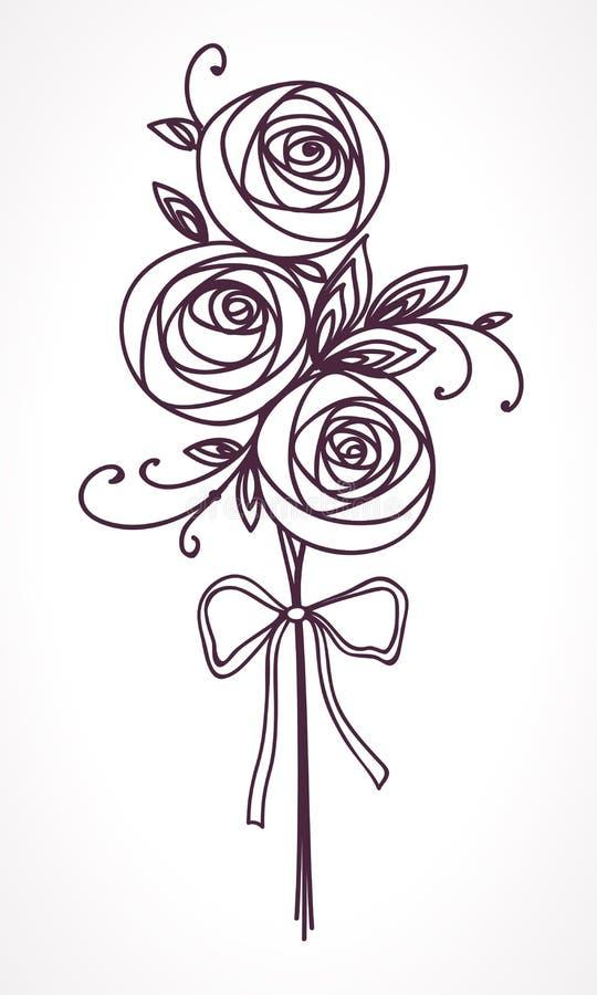 Mazzo Di Fiori Stilizzato.Mazzo Delle Rose Fiori Stilizzati Del Disegno Della Mano