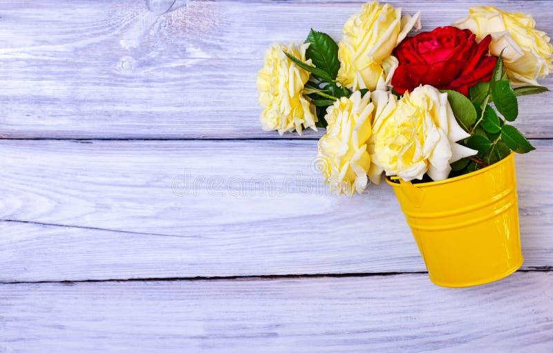 Mazzo delle rose fresche in un secchio giallo del ferro fotografie stock