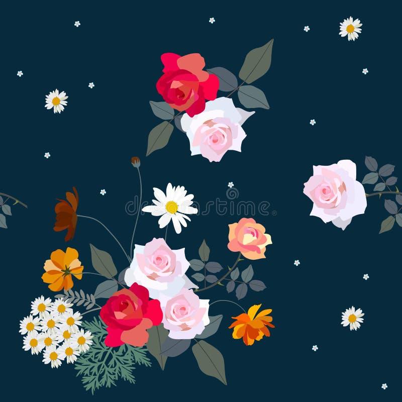 Mazzo delle rose, margherite, fiori dell'universo, isolati su fondo nero Reticolo floreale senza giunte Illustrazione di vettore royalty illustrazione gratis
