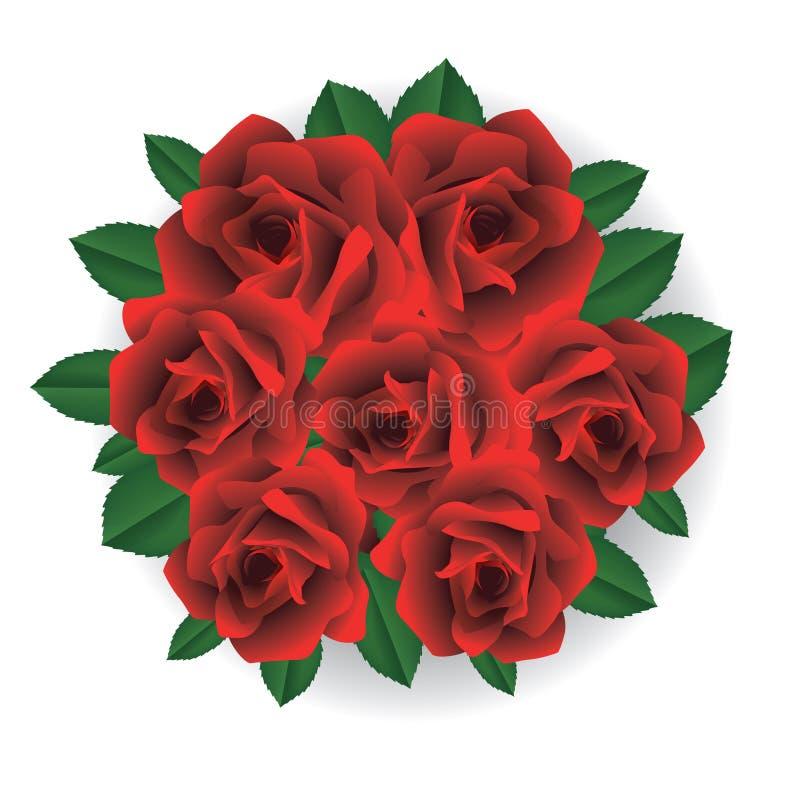 Mazzo delle rose rosse illustrazione di stock