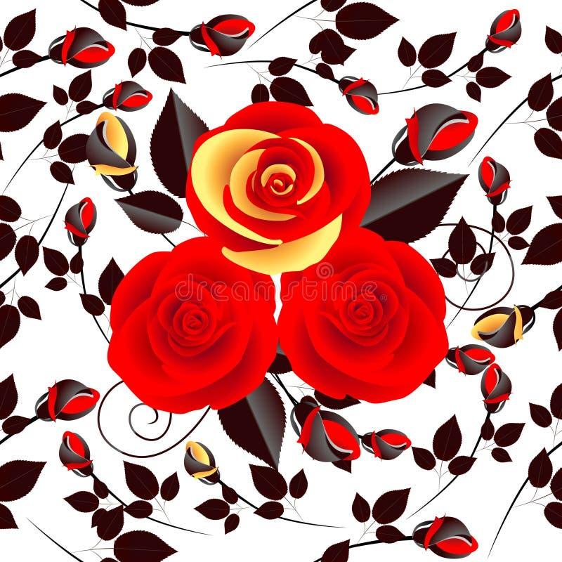 Mazzo delle rose rosse su un modello senza cuciture del fondo bianco illustrazione vettoriale