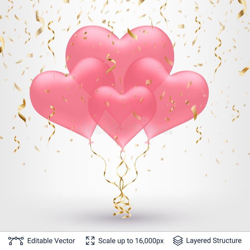 Mazzo di aerostati a forma di del cuore 3D illustrazione di stock