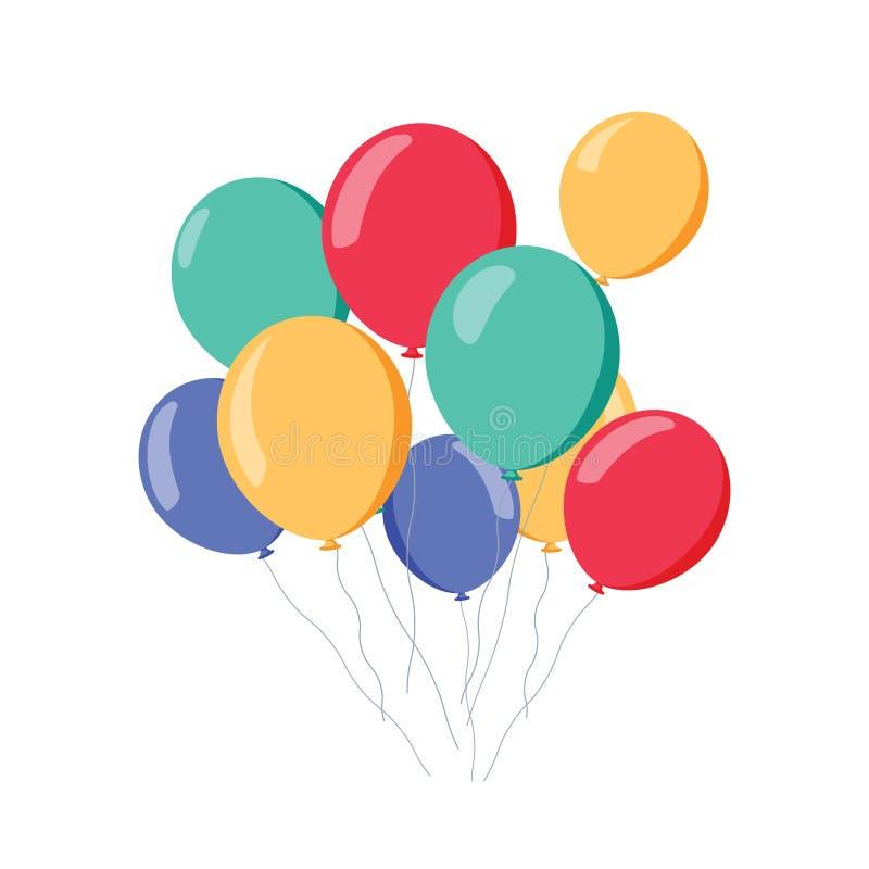 Mazzo di aerostati, gruppo di palla con il nastro isolato su fondo bianco colorful Buon compleanno, feste royalty illustrazione gratis
