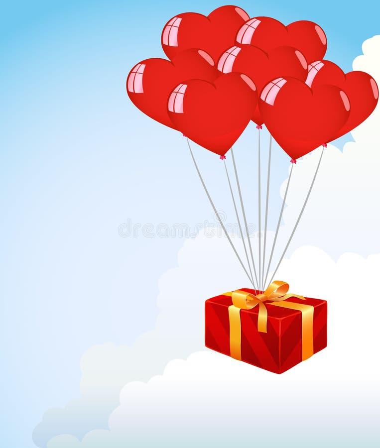 Mazzo di aerostati rossi di figura del cuore royalty illustrazione gratis