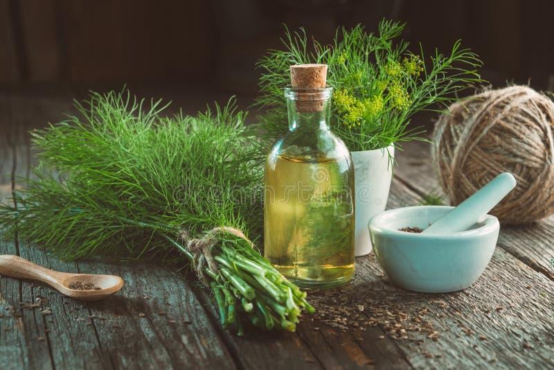 Mazzo di aneto verde fresco, di mortaio dei semi di finocchio, di bottiglia dell'olio dell'aneto e di iuta immagini stock