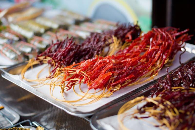 Mazzo di carne tailandese secca immagine stock