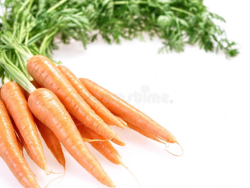 Mazzo di carote crunchy su priorità bassa bianca immagini stock