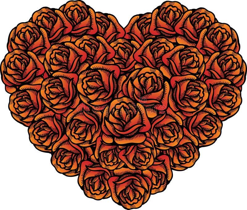 Download Mazzo Di Figura Del Cuore Di Rose Per I Biglietti Di S. Valentino Illustrazione Vettoriale - Illustrazione di disegno, illustrazione: 7300490