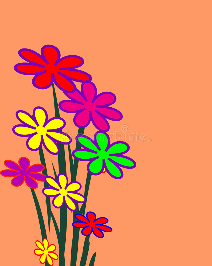 Mazzo di fiori illustrati illustrazione di stock