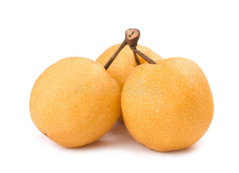 Mazzo di frutta isolata della asiatico-pera con il gambo fotografia stock