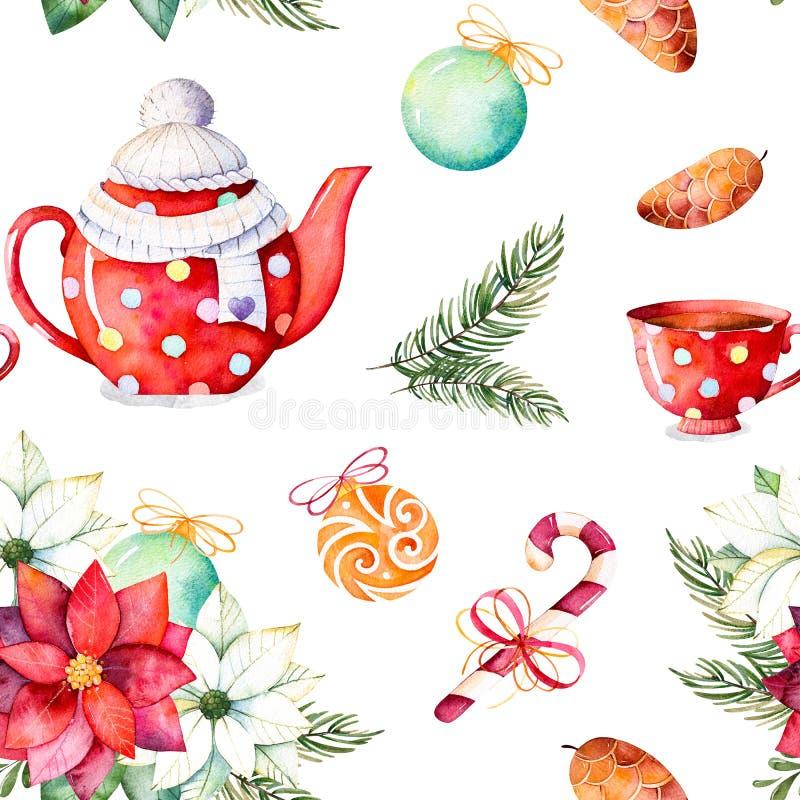 Mazzo di inverno, caramella, teiera, tazza di tè, pinecone, palle di Natale illustrazione di stock