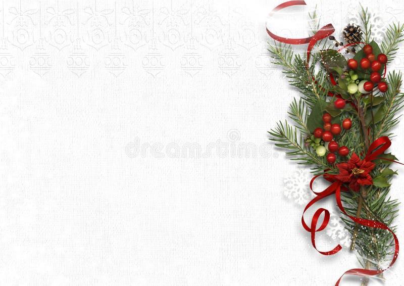 Mazzo di Natale con il vischio e l'agrifoglio su fondo bianco illustrazione vettoriale