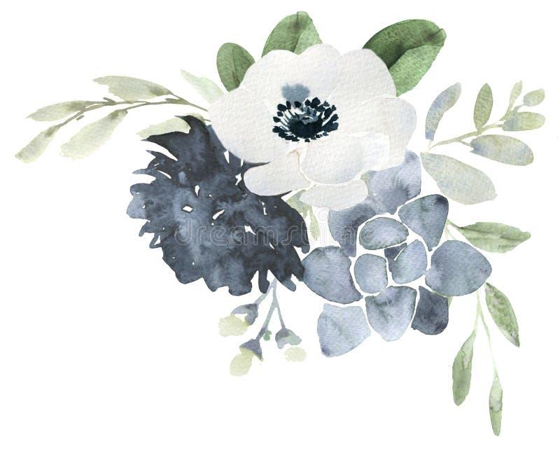 Mazzo di nozze dell'acquerello con l'elleboro royalty illustrazione gratis
