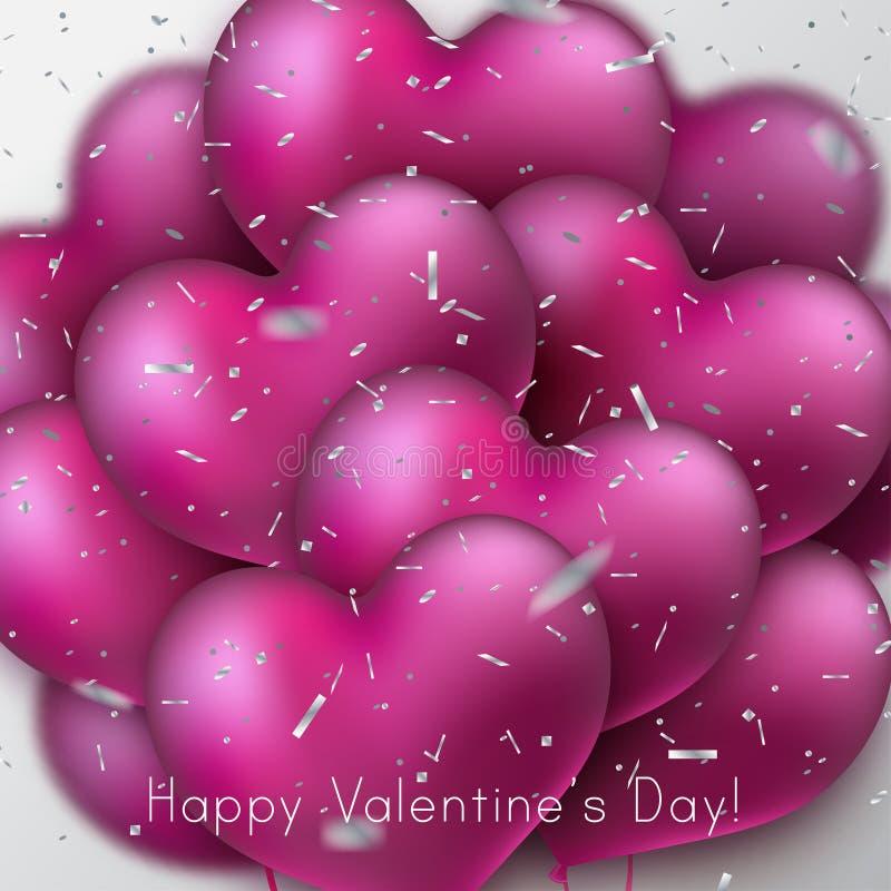 Mazzo di palloni lucidi del cuore royalty illustrazione gratis