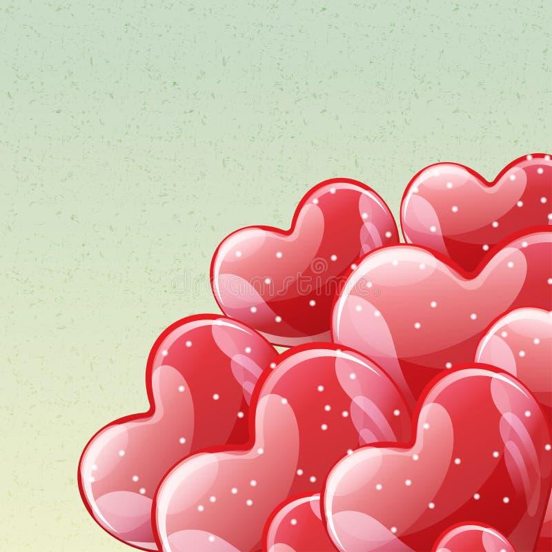 Mazzo di palloni lucidi rossi dell'elio illustrazione vettoriale