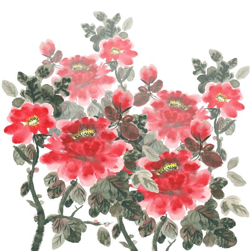 Mazzo di peonia in fioritura illustrazione di stock