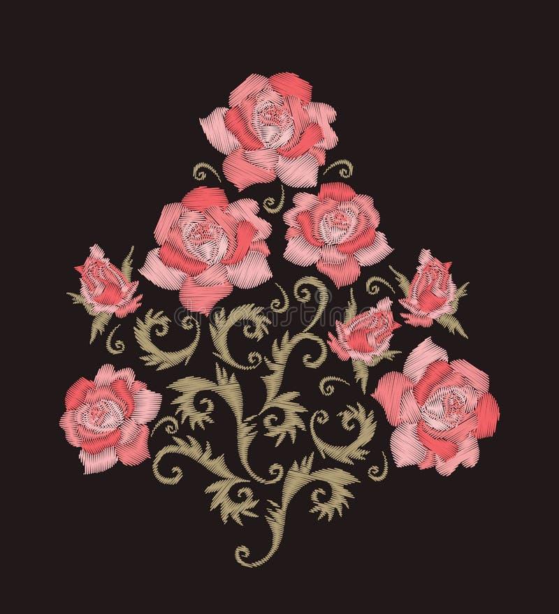mazzo di rosa Progettazione del ricamo con i fiori cuciti rosa Modello floreale ricamato royalty illustrazione gratis