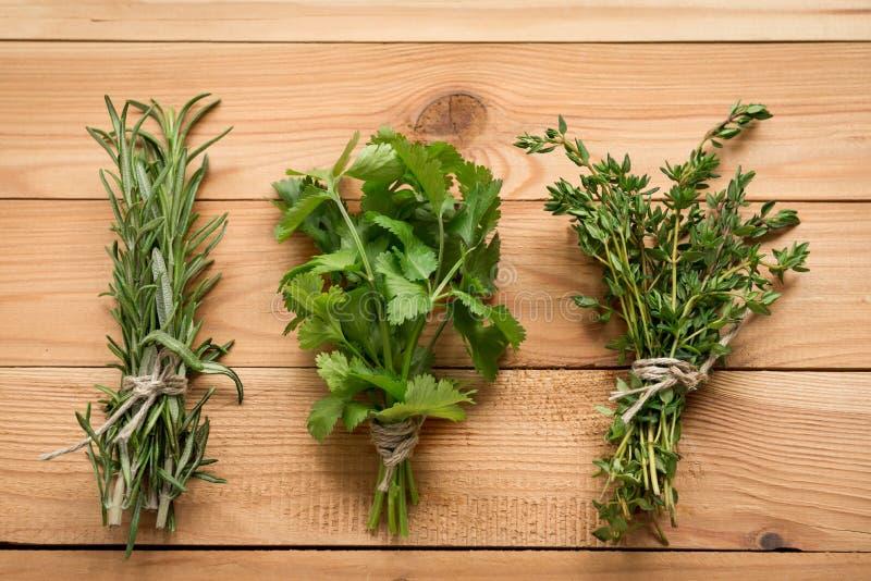 Mazzo di rosmarini, di coriandolo e di timo, piante organiche per alimento sano immagine stock libera da diritti