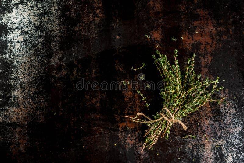 Mazzo di timo organico fresco fotografia stock libera da diritti