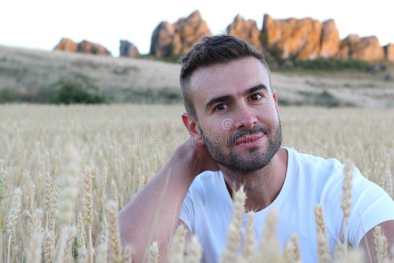 Mazzo di trasporto del giovane uomo attraente di grano maturo fotografia stock