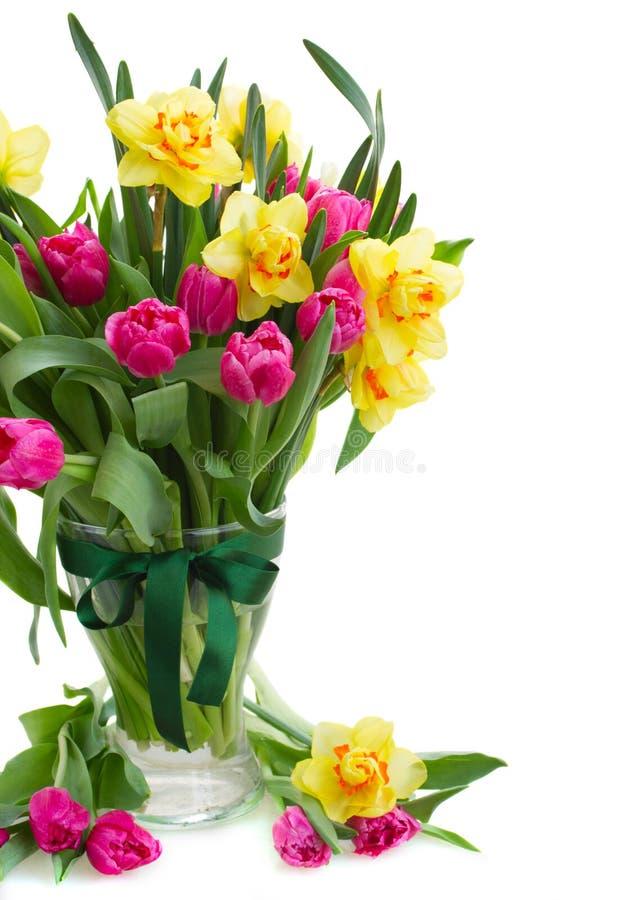 Download Mazzo Di Tulipani E Di Narcisi In Vaso Fotografia Stock   Immagine  Di Closeup,