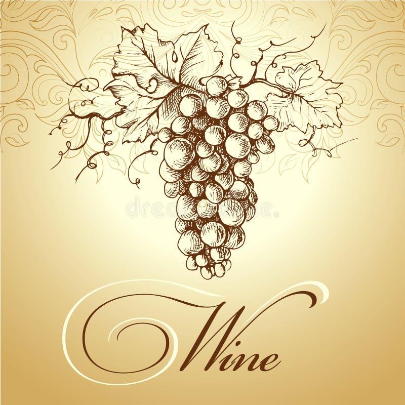 Mazzo di uva per le etichette di vino illustrazione for Idee per il layout del mazzo