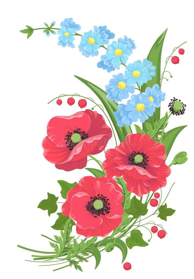 Mazzo di vettore con i papaveri e foglie dei dimenticare-me-gambi e bacche rosse su fondo bianco Stile della pittura dell'acquere royalty illustrazione gratis